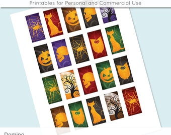 Halloween 1x2 Domino Collage Sheet Digital Images for Domino Pendants Magnets Scrapbooking Journaling JPG D0031
