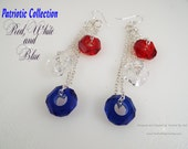 Earrings . Patriotic . Dangle . Glass Disc Beads . Red White and Blue . 4th of July . Independence Day . USA . Silver Plate Chain . Gift