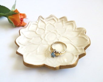 Trinket dish, ring holder, jewelry tray, Lotus Flower with Gold Edge, In Stock