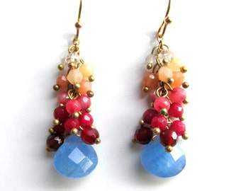 Cascade Dangle Earrings in Colorful Faceted Quartz Beads - Artisan Handmade Jewelry