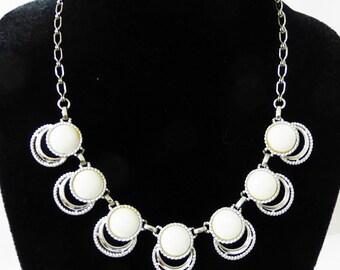Vintage necklace white plastic and metal retro mid century