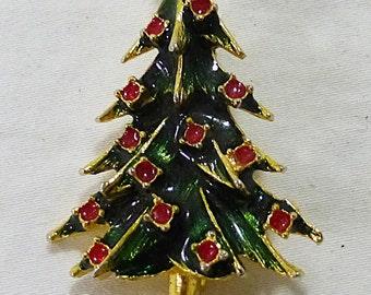 Vintage christmas tree brooch pin enamel rhinestone gold tone