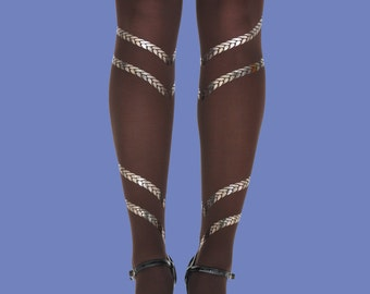 Braids tights silver print, opaque brown tights, available in S-M, L-XL