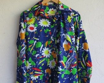 "35% OFF SUMMER SALE Retro Blue Floral ""Jackfin"" Shirt"