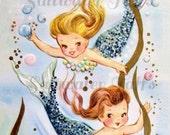 Vintage Mermaid Girls Cute Digital Downloads for fabric transfer decoupage pillows ocean bubbles mermaid image under the sea beach blue
