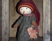 Primitive Folk Art Standing snowman make do wool coat HAFAIR haguild faap ofg ice skates