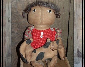 Primitive hand embroidered  rag doll wool hair cat doll red dress HAFAIR faap OFG HAGUILD