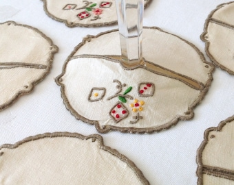 6 Wine Glass Coasters Cream Linen Embroidered