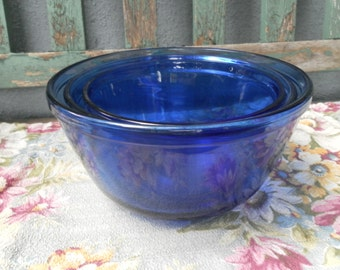 Three Vintage Anchor Hocking Cobalt Blue Mixing Bowls