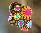 "9.5"" Medium Flow Reusable Cloth Pad ~ Flower Power Minky ~ by Talulah Bean"