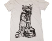 Womens RACCOON T Shirt American Apparel (custom colors available)