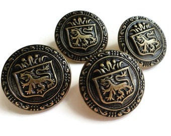 Lion Crest Blazer Buttons - 4 High Quality Preppy Antique Bronze in Your Choice of Sizes 7/8 inch 5/8 inch 22mm 15mm
