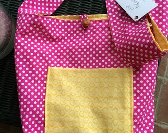 Reversible handbag, yellow and pink, polka dot bag, shoulder bag