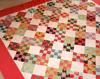 Quilt Top Clearance Sale Fig Tree Quilts  Modern Vintage style queen size Quilt Top