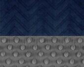 SALE CIJ Minky Baby Blanket Boy, Charcoal Gray & Navy Embossed Chevron Personalized Baby Blanket