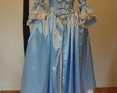 Blue and cream satin Marie Antoinette Victorian inspired rococo costume dress