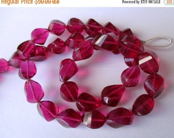 35% OFF Hot-pink-quartz-faceted-twisted-bead-10-13mm-7-5-inch