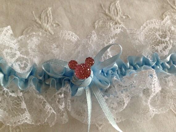 Disney Wedding Mouse Ears  Garter Bridal Garter Something Blue and Silver Shower Gift