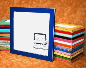 Picture frame 24x24, colored frame, square frame, shabby chic frame, rustic distressed frame, 67 colors