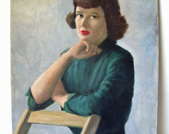 Midcentury Oil Portrait Painting of Woman on Canvas