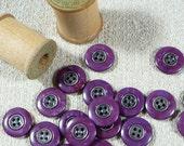 Lot of 25 Buttons, purple, 4 hole, Destash