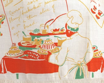 Vintage Recipe Tea Towel Table Runner Buffet Smorgasbord Chef Baker