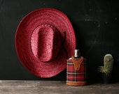 Please hold Red Straw Cowboy Hat Western Fashion 60s Kitsch Vintage From Nowvintage on Etsy