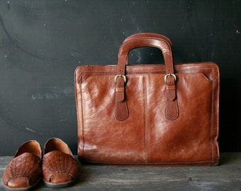 Leather Portfolio Briefcase Messenger Bag No Shoulder Strap Vintage From Nowvintage on Etsy