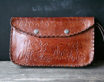 Vintage Purse Tooled Leather Wristlet With A Buck and Deer Bohemian Fashion Name Dette on Back Vintage at Nowvintage on Etsy
