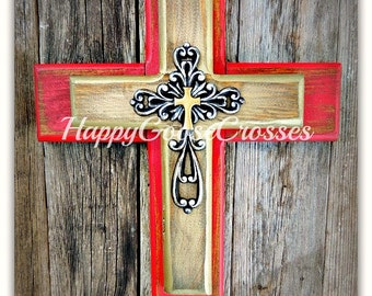 Wall Cross - Wood Cross - X-Small - Rustic Red and Gold with Silver Cross