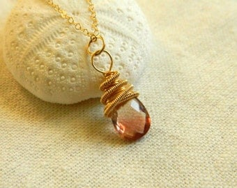 Rococo necklace in Oregon Sunstone-14k gold filled wire wrapped coiled rose cut AAA Oregon Sunstone pendant necklace