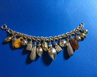 Vintage Acorn Charms Sterling Silver Silver Charm Bracelet