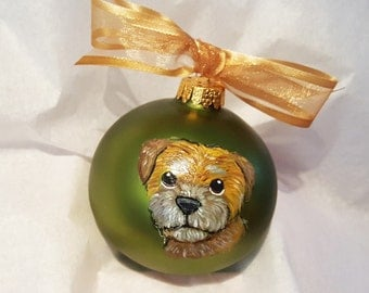 Border Terrier Dog Cutie Face - Hand Painted Christmas Ornament - Can Be Personalized with Name