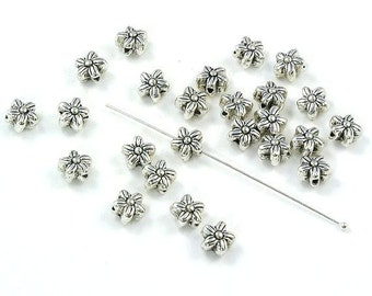 5-Petal Flower Beads Antiqued Silver Plated Pewter 6mm - Set of 20