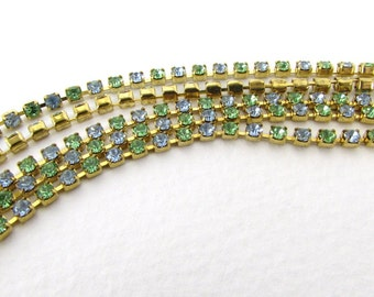 Vintage Rhinestone Chain Swarovski Peridot Light Sapphire Crystal Brass Prong Setting 2.5mm chn0176 (1 foot)