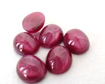 Vintage Glass Cabochon Star Fuchsia Berry Pink Moonstone Oval 12x10mm gcb1176 (6)