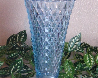 "Indiana Glass Blue Diamond Point 8"" footed Trumpet Vase saw tooth top"