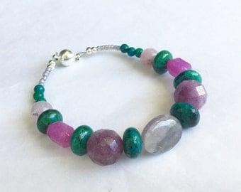 Violet Purple Teal Green Mixed Bead Bracelet, Amethyst Jade Chrysoprase