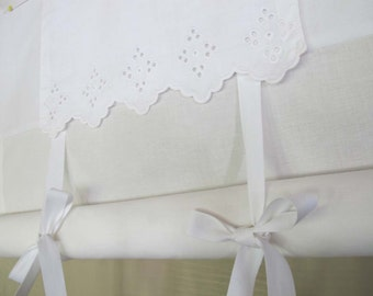 White on White Vintage Cutwork Embroidery Tie Up Shade Custom Made to Order Tie Up Curtain Swag Balloon