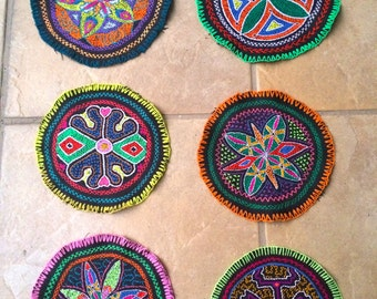 LOT of 6 Shipibo Patches - Kene - Shipibo Textile - Hand Embroidered -