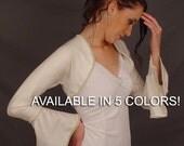 Satin bolero jacket wedding bridal shrug trimmed bell sleeve SBAA AVAILABLE in 5 Colors white, ivory, champagne, navy blue, black