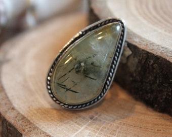 OAK One of a kind  Natural Prehnite Gemstone Sterling Silver filled bezel setting Statement gypsy boho Ring size US 7.75  D2