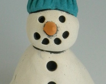 Clay Ornament, HANDMADE CLAY SNOWMAN, Snowman, Winter, Snowman with Turquoise Hat, Turquoise and White, Snow, Ornament, Christmas Ornament