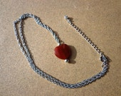 Necklace Red Agate Gemstone Heart Pendant on Silver Tone Chain 18 Inches with Extension Chain