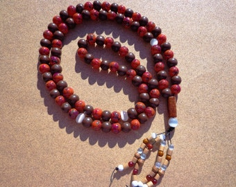 Tasbih Prayer Beads 99 Beads - Wood and Glass with Beaded Tassel