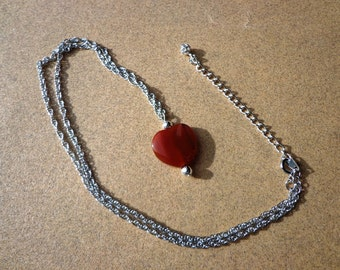 Red Agate Necklace, Gemstone Heart Pendant on Silver Tone Chain, 18 Inches with Extension Chain, Stress Relief Stone, Self Confidence Stone