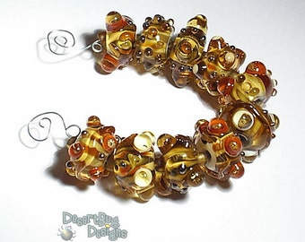 CARMELITAS  Lampwork Beads Handmade Topaz SIenna Brown Silver  Bold and Textured  Set of 10