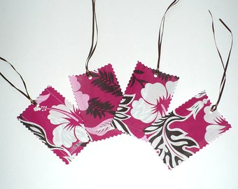 Luggage Tags, Tropical Flowers, Hot Pink, Island, Vacation, laminated fabric, Set of 4, SALE
