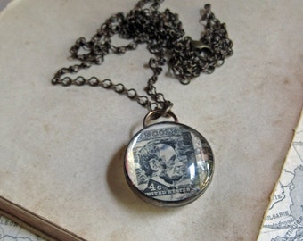 Vintage Stamp Necklace Lincoln Washington Ooak Jewelry