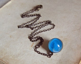 Blue Marble Necklace Glass Pendant Vintage Marble